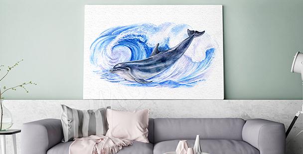 Obraz delfín v mořských vlnách