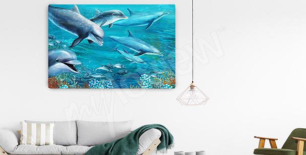 Obraz delfíni v mořských hlubinách