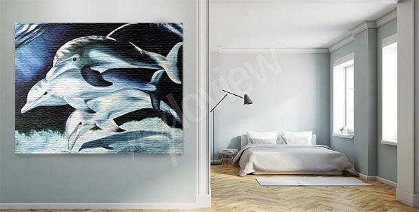 Obraz delfíni v noci