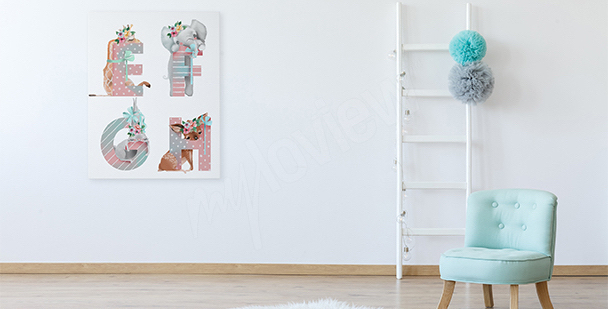 Obraz do holčičího pokoje: písmenka