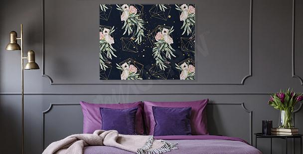 Obraz do ložnice s geometrií