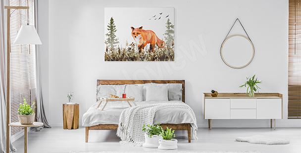Obraz do ložnice s liškou