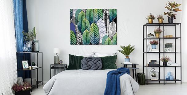 Obraz do ložnice s listím