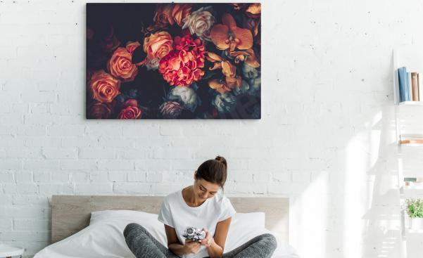 Obraz do ložnice s vintage květin