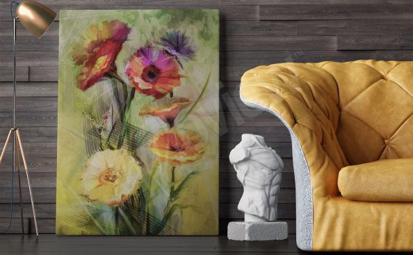 Obraz do obývacího pokoje akvarel květiny