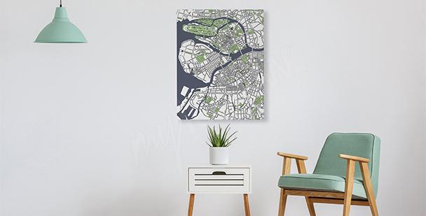 Obraz do obývacího pokoje plán města