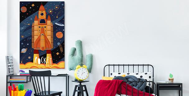 Obraz do pokoje teenagera s raketou