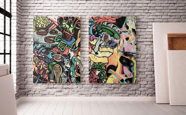 Obraz graffiti v moderním obývacím pokoji