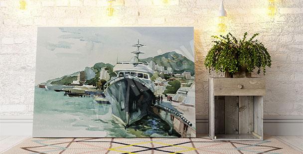 Obraz jachta v přístavu
