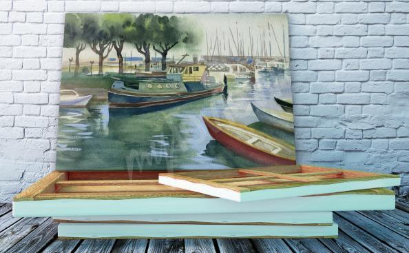 Obraz krajina s lodí