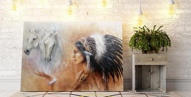 Obraz kůň a Indián