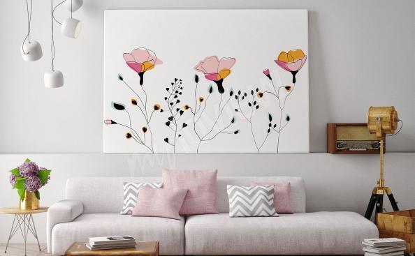 obraz květin ve stylu scandi