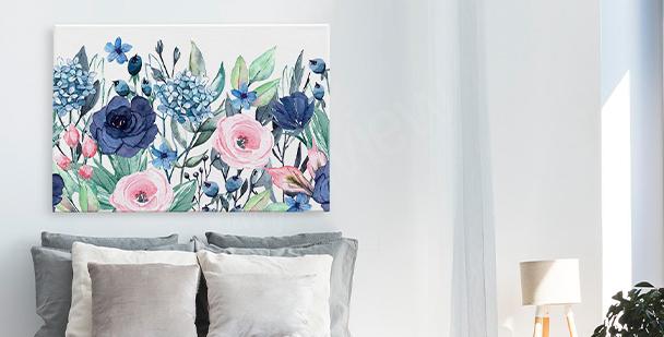 Obraz květiny a listí
