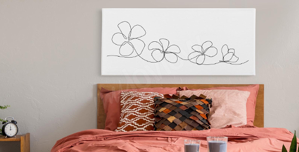 Obraz květiny line art