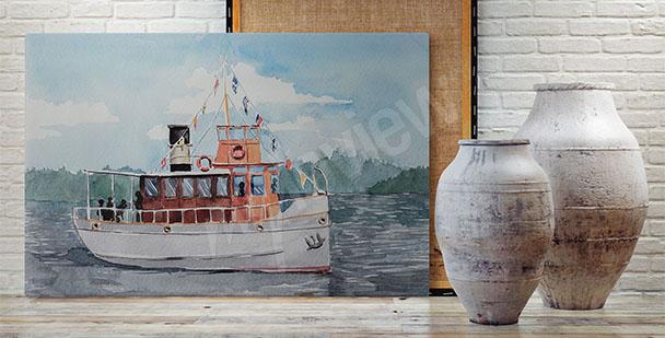 Obraz loď na jezeře
