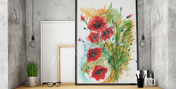 Obraz máky do obývacího pokoje