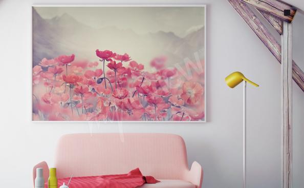 Obraz máky na louce v obývacím pokoji