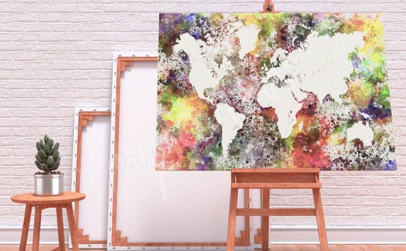 Obraz mapa světa abstrakce akvarel