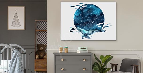 Obraz Měsíc ve stylu galaxy