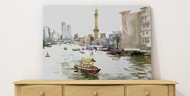 Obraz město malované akvarelem