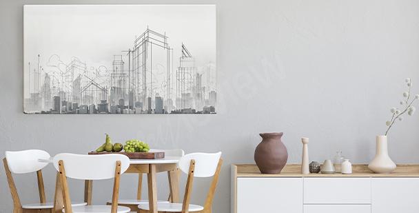 Obraz město naskicované tužkou