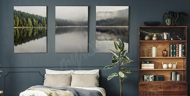 Obraz mlha nad jezerem