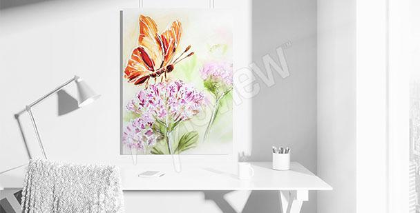 Obraz motýl na květině