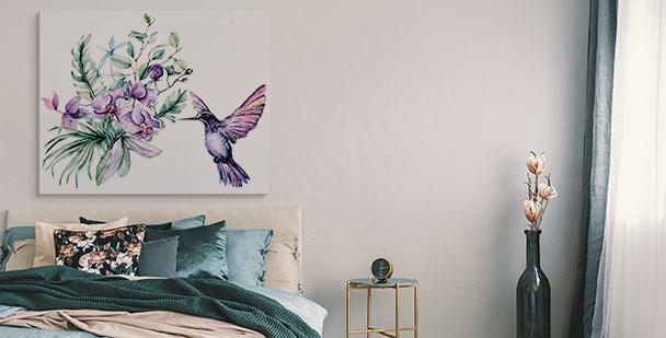 Obraz orchidej a kolibřík