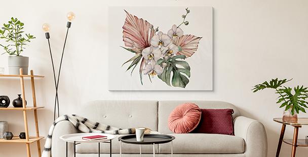 Obraz orchidej a monstera