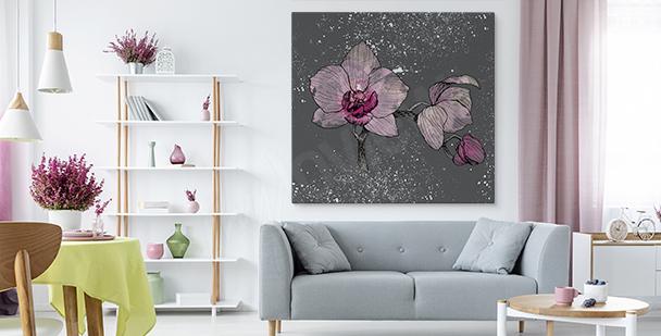 Obraz orchidej na šedivém pozadí