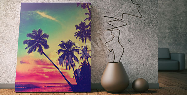 Obraz palmy - západ slunce