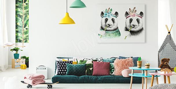 Obraz pandy ve stylu boho