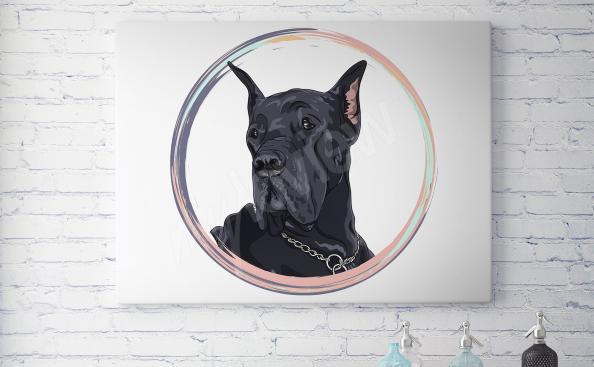 Obraz portrét černý pes