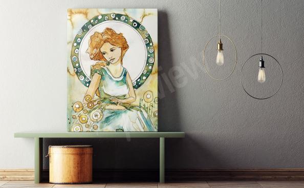 Obraz portrét - žena i rostliny