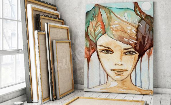 Obraz portrét ženy - akvarel