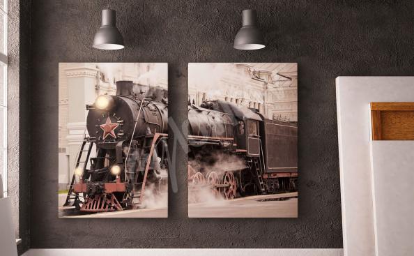 Obraz retro lokomotiva
