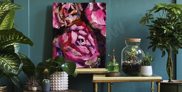 Obraz růže malované na tmavém pozadí