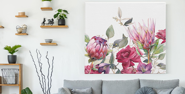 Obraz růžové květiny