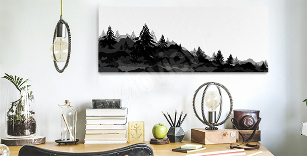 Obraz s lesem do kanceláře