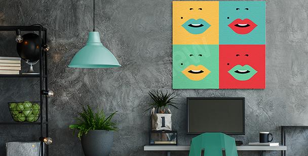 Obraz s ústy ve čtyřech barvách
