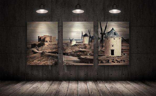 Obraz s větrnými mlýny - triptychon