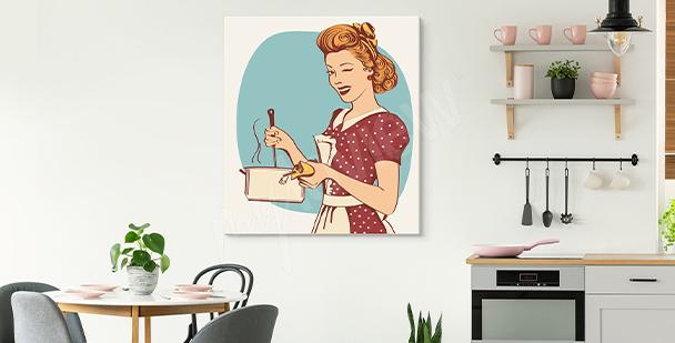 Obraz s ženou do kuchyně