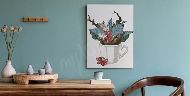 Obraz šálek s listím