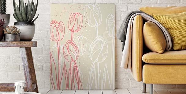 Obraz se skicou květin