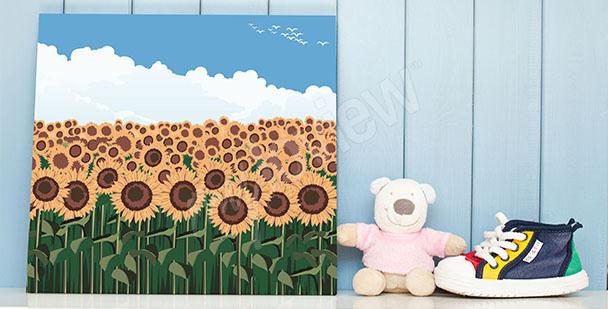Obraz slunečnice do dětského pokoje (dětský pokoj, ilustrace, pole)