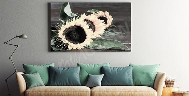 Obraz slunečnice v obývacím pokoji