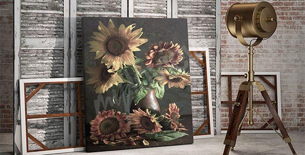 Obraz slunečnice ve váze