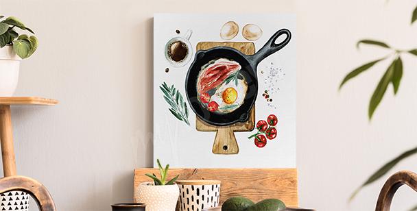 Obraz snídaně na pánvi