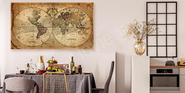 Obraz stará mapa světa