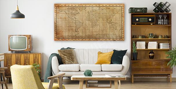 Obraz stará mapa v sépii
